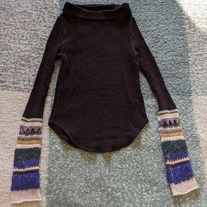 Free People Crochet Long Sleeve Black Sweater